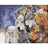 OKOUNOKO 1000 Teile Puzzle Rätsel Für Erwachsene 3D Zwei Wölfe Unter Den Winter-Ahornbaum Handgemalten Kunstwohndekor-Tierbildern Hölzern Personalisiert Zusammenbauen Rätselspaß Spiel