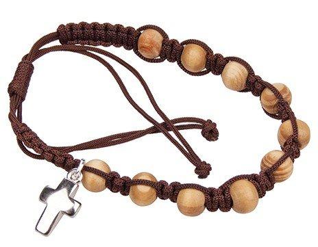 Holzarmband mit Kreuz, Ziehverschluss (Holz Rosenkranz Armband)