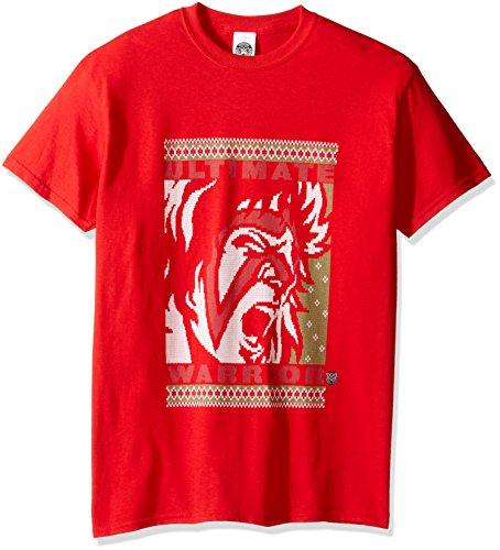 WWE Herren T-Shirt Ultimate Warrior Ugly Christmas - Rot - Mittel