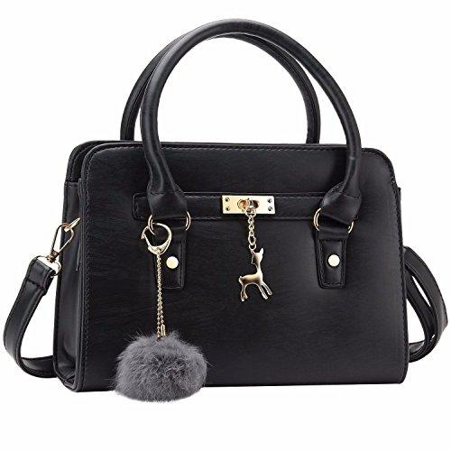 Weihnachtsgeschenke Frauen Mode Pu Leder Geldbörsen und Handtaschen Umhängetaschen Top-Handle Satchel Tote Bag Tasche Schwarz