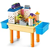 CRAZKID TOYS My Build N Learn Table Compatible 1000 Piece Building Blocks 2-in-1 Block Table for Kids, Boys, Girls…