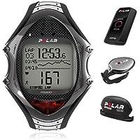 Polar RS800CX–Sportuhren (schwarz, silber, 12h/24h, Fitness, Joggen, wasserdicht, Polar PROTRAINER 5, Deu, Eng, ESP, eng, Ita)
