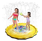 Addmluck Splash Pad Wasserspielzeug Garten Spielmatte Outdoor Sommer Garten Splash Spielmatte für Baby Party Sprinkler und Splash Play Matte 170CM Spaß für Baby, Kinder, Hund und Haustiere(Yellow)