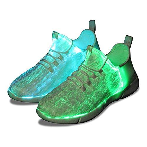 Shinmax Fiber Optical Schuhe, LED Schuhe 7 Farben 4 Mods USB Wiederaufladbare Leuchten Schuhe Super Lightweight LED Sneaker für Männer und Frauen