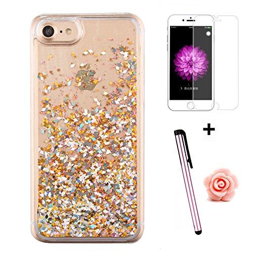 Custodia per iPhone 7 Case,Cover per iPhone 7,TOYYM - Love Heart Star Crystal Case Cover, Resistente Chiaro Trasparente [Bling Liquid] con divertente liquido flottante 3D con lussiosi glitter per iPho Color 31#
