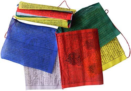Commercio equo solidale nepalese buddista tibetano vento cavalli cotone preghiera bandiere - 25 stringa 22cm x 16cm