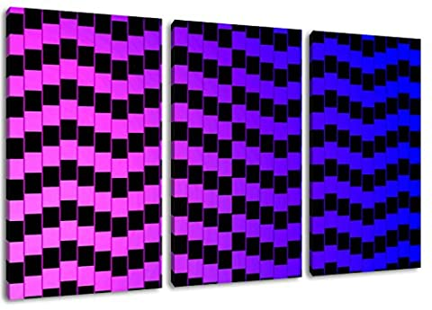 Optical Illusion Format: three-piece total 120x80, covered painting on canvas, huge XXL images completely finished and framed with stretcher, Art print on wall picture with frame, cheaper than painting or picture, no posters or