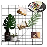 Grid Photo Wall Set of 2, Oucles Grid Wall Metal Wire Display Panel Decorative Nordic Shelving Mesh Memo Board Brackets Art Display Hanging Organizer,Ins Art Display Photo Wall, 23.6x23.6 Inches(Black)