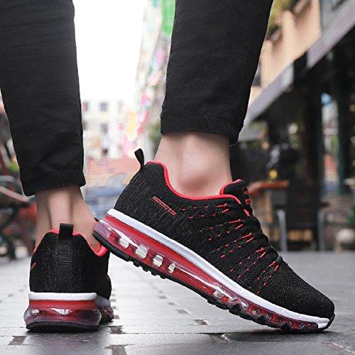 tqgold Uomo Donna Air Scarpe da Ginnastica Running Sportive Fitness Basse Sneakers Nero Rosso