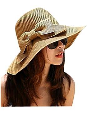 TININNA Cappello da Sole,Donne Delle Ragazze Spiaggia Di Modo Anti-Uv Decorazione Arco Tesa Larga Cappello Di...