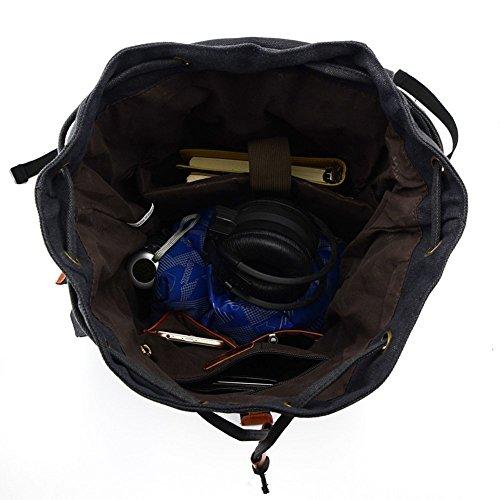 KAUKKO Herren Segeltuch Jahrgang Laptoptasche Reise Rucksack mit 27×21×48 cm Khaki Schwarz