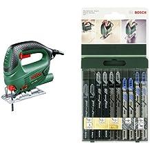 Bosch PST 650 - Sierra de calar con maletín (500 W, 240 V) color verde + 2 609 256 746 - Juego de hojas de sierra de calar de 10 piezas vástago en T