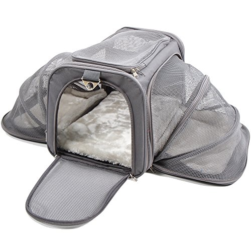 Expandable Dog Cat Travel Pet Carrier - Airline Approved, Soft Bed, For Car (Large, Dark Gray)