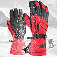 shuhong Motorcycle Gloves Motorbike Outdoor Sport Men Mitts Ski Climbing Hiking Warm Leather Women Winter Waterproof Cold Windproof Driving,Red3-S
