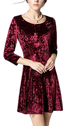 Damen elegante 3/4 Ärmel A-Linie Partykleid Red