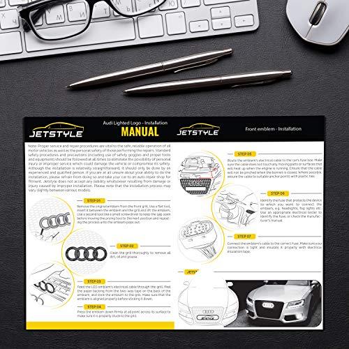 JetStyle Nero Emblema LED A3 A4 A5 A6, Marchio per Auto Griglia Anteriore Automobile, Logo ad Illuminazione Automatica, Anelli Risplendenti, Rings Luci Diurne DRL – Guida con Più Luce