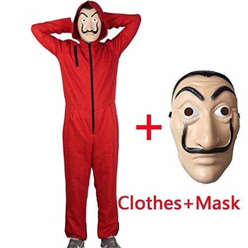 (Batsomer Cosplay Film Maske Geld Heist Das Haus des Papiers La Casa De Papel Cosplay Kostüm + Facemask, S)