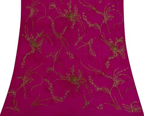 Vintage Magenta Dupatta gestickte indischer Schal Reine Chiffon- Seide Schleier Hijab
