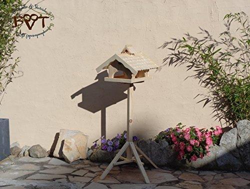 Vogelhaus,groß,mit Nistkasten,BEL-X-VONI5-natur002 Großes wetterfestes PREMIUM Vogelhaus VOGELFUTTERHAUS + Nistkasten 100% KOMBI MIT NISTHILFE für Vögel WETTERFEST, QUALITÄTS-SCHREINERARBEIT-aus 100% Vollholz, Holz Futterhaus für Vögel, MIT FUTTERSCHACHT Futtervorrat, Vogelfutter-Station Farbe natur, MIT TIEFEM WETTERSCHUTZ-DACH für trockenes Futter - 3