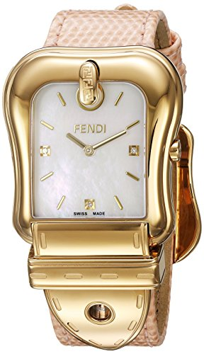 Fendi Women's Pink Leather Band Steel Case Swiss Quartz MOP Dial Analog Watch F382414571D1