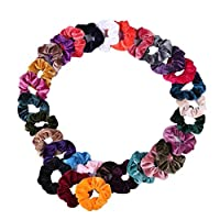 Fankle 40 Pcs Hair Scrunchies Velvet Elastic Hair Bands Hair Ties Ropes Scrunchie for Women or Girls Hair Accessories - 40 Assorted Colors Scrunchies