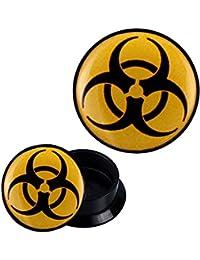 Plug acrylique biohazard jaune piercing écarteur d'oreille noir