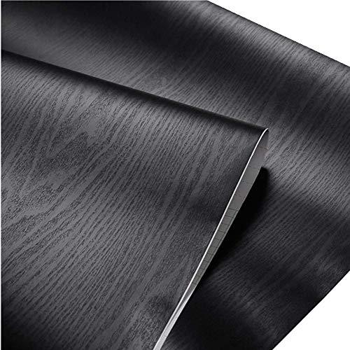 teemall selbstklebend schwarz Holzmaserung Möbel Aufkleber PVC Tapete Unterschrank Glänzende Folie Vinyl Counter Top Aufkleber 61x 200,7cm - Schwarze Granit-küche Top