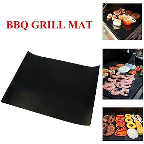 MEIJING Barbecue grill barbecue Fogli Mat, 100% non del bastone di sicurezza, di forte spessore, riutilizzabili e lavabili in lavastoviglie, funziona a gas, carbone di legna, forni, barbecue elettrico e altri 2 pezzi (15.7