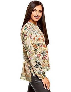 oodji Collection Mujer Blusa Ancha con Estampado Floral