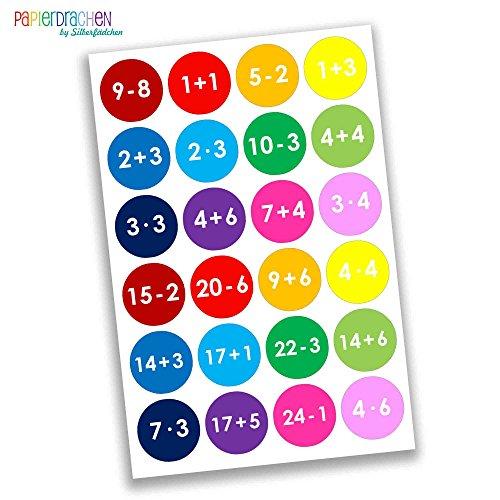 Papierdrachen 24 Adventskalender Zahlen Sticker - mathematisch - bunt Nr 08 - Aufkleber 4 cm - zum Basteln und Dekorieren