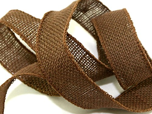 32 mm Drahtkante, Sackleinen Band Braun - Pro 2 Meter + Gratis Minerva Crafts Craft Guide (Craft Ribbon Sackleinen)