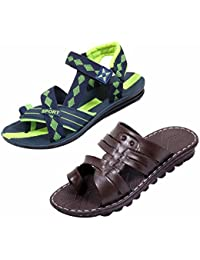 Indiweaves Men's KRS Casual Sandal And Floaters Office Sandal-Green/Blue/Green/Blue- Pack Of 2 Pairs - B071CVPVF9