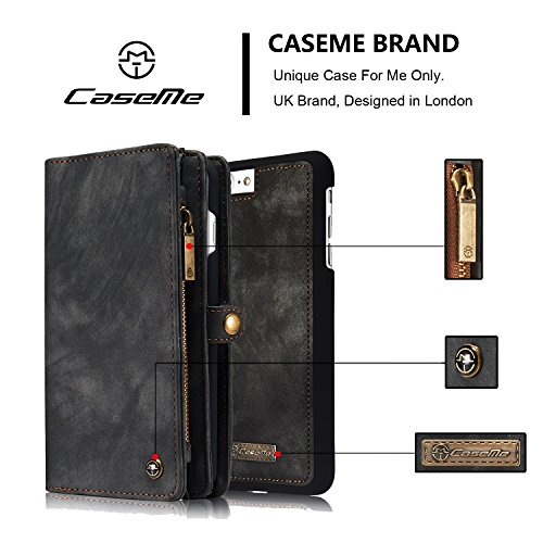 SDDMALL CaseMe Ultimate Functional All-In-One Handgefertigte TRIFOLD LEATHER Abnehmbare IPhone Brieftasche Elegant Finish Case Cover Für IPhone 7 Plus ( Color : Coffe ) Black