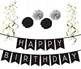Sterling James Co.. - Deko Geburtstag Set, Schwarz & Silber Girlande, Pom Poms und Spiralgirlande Silber – Party Zubehör 18. 30. 40. 50.