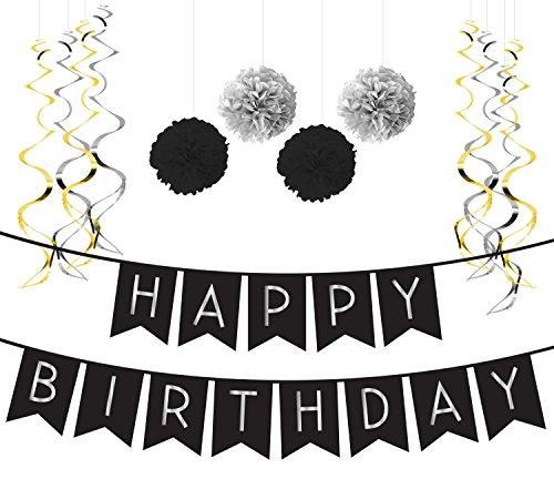 Deko Geburtstag Set, Schwarz & Silber Girlande, Pom Poms und Spiralgirlande Silber – Party Zubehör 18. 30. 40. 50. (Baseball-happy Birthday-banner)