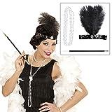 Charleston Kostüm Set mit Kopfschmuck, Halskette und Zigarettenspitze 20er 30er Jahre Bekleidung Gatsby Mode Outfit Damen Flapper Haarschmuck Federschmuck Haarband