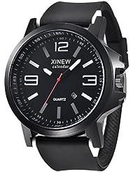 Reloje Hombre Mujer,Xinan Acero Inoxidable Cuarzo Analógico Reloj Deportivo (Negro)