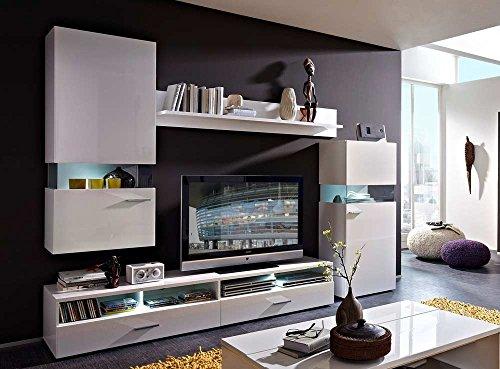 Wohnwand in weiß Hochglanz u. weiß gläzend mit 1 Hängevitrine, 1 TV-Unterschrank, 1 Wandboard u. 1 Vitrine, Gesamtmaße: B/H/T ca. 275/202/50 cm
