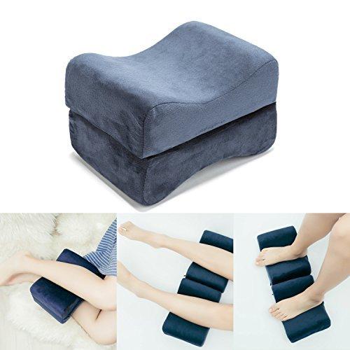 HANKEY Memory Foam Schaum Beinkissen   Orthopädisches Kniekissen für Hüfte, Bein, Knie, Rücken   Ergonomisches Kissen für Schwangerschaft & Seitenschläfer   Waschbarer Bezug, dunkelblau (Memory-schaum-keil-kissen)