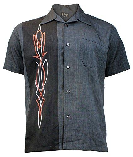 Steady Clothing Herren Vintage Bowling Hemd - Hot Rod Pinstripe Grau Retro Bowling Shirt XL