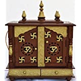 Jodhpur Handicrafts Wood and MDF Om and Swastika Home Temple/Pooja Mandir (Copper and Golden)