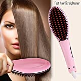 DANTB Doppelspannungs-Haarglätter-Pinsel, Anion Instant Magic seidiges glattes Haar-Styling, Anti Verbrühen Anti Static Keramik Heizung Detangling Hair (Pink),Pink