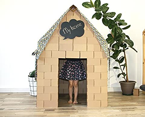 Build Amazing house from giant building blocks with NEW interlocking system, exciting gift for boys and girls. (dark roof)