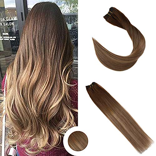 Ugeat 22 Zoll Echthaar Tressen Ombre Brown with Blonde Salon-Stil Extensions Weft Echthaar Naturliches Haar 100g/bundel