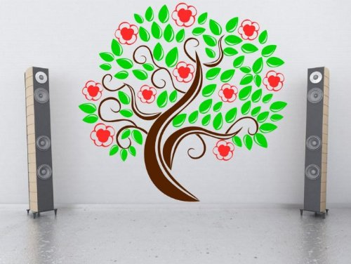 fabulous-giant-tree-bambini-nursery-camera-da-letto-enorme-wall-sticker-nut-brown-strawberry-red-gre