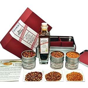 direct&friendly Bio Geschenkset für Scharfesser mit Chiliöl und Chili von mittelscharf bis extrascharf