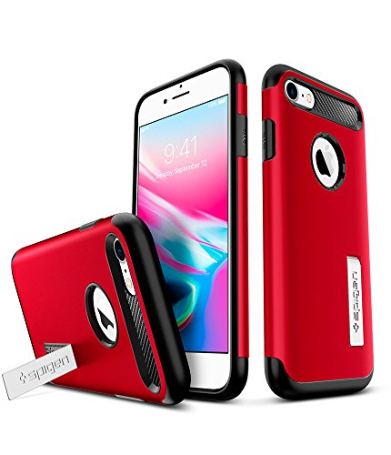 iPhone 7 Hülle, iPhone 8 Hülle, Spigen® [Slim Armor] Integrierter Kickstand [Gunmetal] Luftpolster-Technologie an den Kanten / 2-teiliges Case Schutzhülle für Apple iPhone 7 / iPhone 8 Case Cover - Gu SA Crimson Red