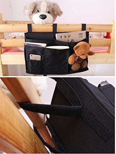 VANCORE comodino Hanging Organizer Tasca, Dormitorio camera da letto letto Testiere Storage Per Riviste, libri, iPhone, iPad Black Black