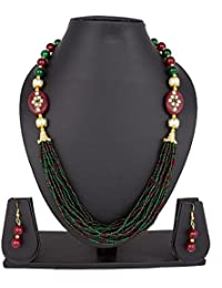 Pankh Red And Green Kundan Studded Necklace Set NK-149