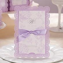VStoy Laser Cut tarjetas de invitaciones de boda elegante de luz púrpura flores lazo boda favorece partido suministros con sobre y sello 20piezas